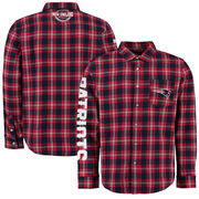 New England Patriots Wordmark Flannel Long Sleeve Button-Up - Navy/