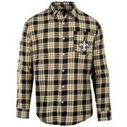 New Orleans Saints Wordmark Flannel Long Sleeve Button-Up - Black/