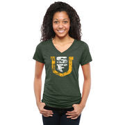 San Francisco Dons Women's Classic Primary Tri-Blend V-Neck T-Shirt - Green