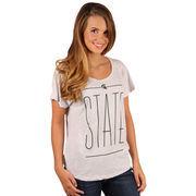 Michigan State Spartans Women's Dolman Tri-Blend T-Shirt - Heathered White