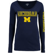 Michigan Wolverines Alta Gracia (Fair Trade) Women's Isabel Relaxed Fit Long Sleeve T-Shirt - Navy