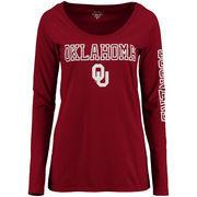 Oklahoma Sooners Alta Gracia (Fair Trade) Women's Isabel Relaxed Fit Long Sleeve T-Shirt - Crimson