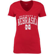 Nebraska Cornhuskers Alta Gracia (Fair Trade) Women's Relaxed Fit Keila V-Neck T-Shirt - Scarlet