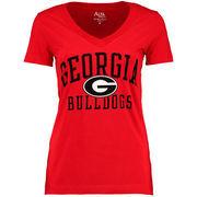 Georgia Bulldogs Alta Gracia (Fair Trade) Women's Relaxed Fit Keila V-Neck T-Shirt - Red