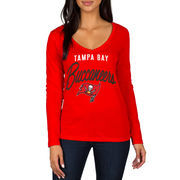 Tampa Bay Buccaneers Women's Strong Side V-Neck Long Sleeve T-Shirt - Red
