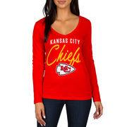 Kansas City Chiefs Women's Strong Side V-Neck Long Sleeve T-Shirt - Red