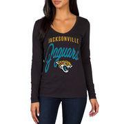 Jacksonville Jaguars Women's Strong Side V-Neck Long Sleeve T-Shirt - Black