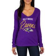 Baltimore Ravens Women's Strong Side V-Neck Long Sleeve T-Shirt - Purple