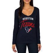Houston Texans Women's Strong Side V-Neck Long Sleeve T-Shirt - Navy