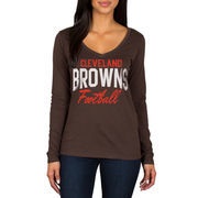 Cleveland Browns Women's Direct Snap V-Neck Long Sleeve T-Shirt - Brown
