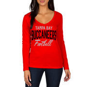 Tampa Bay Buccaneers Women's Direct Snap V-Neck Long Sleeve T-Shirt - Red