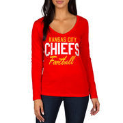 Kansas City Chiefs Women's Direct Snap V-Neck Long Sleeve T-Shirt - Red