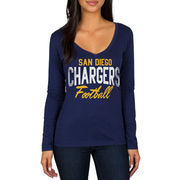 San Diego Chargers Women's Direct Snap V-Neck Long Sleeve T-Shirt - Navy