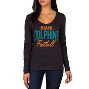 Miami Dolphins Women's Direct Snap V-Neck Long Sleeve T-Shirt - Black