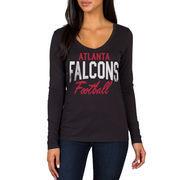 Atlanta Falcons Women's Direct Snap V-Neck Long Sleeve T-Shirt - Black