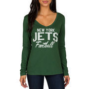 New York Jets Women's Direct Snap V-Neck Long Sleeve T-Shirt - Green