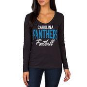 Carolina Panthers Women's Direct Snap V-Neck Long Sleeve T-Shirt - Black