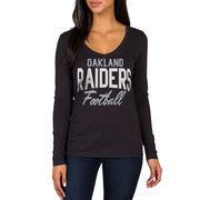 Oakland Raiders Women's Direct Snap V-Neck Long Sleeve T-Shirt - Black