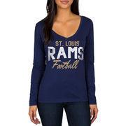 Classic St. Louis Rams Women's Direct Snap V-Neck Long Sleeve T-Shirt - Navy