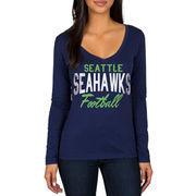 Seattle Seahawks Women's Direct Snap V-Neck Long Sleeve T-Shirt - Navy