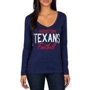 Houston Texans Women's Direct Snap V-Neck Long Sleeve T-Shirt - Navy
