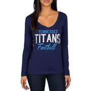 Tennessee Titans Women's Direct Snap V-Neck Long Sleeve T-Shirt - Navy