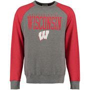 Wisconsin Badgers Alta Gracia (Fair Trade) Ramon Raglan Fleece Crew Sweatshirt - Charcoal/Red