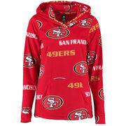 San Francisco 49ers Concepts Sport Women's Facade Long Sleeve Hooded Pajama Top - Scarlet