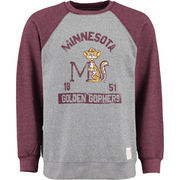 Minnesota Golden Gophers Original Retro Brand Vintage Color Block Tri-Blend Sweatshirt - Heather Gray