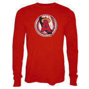 Los Angeles Angels Majestic Threads Vintage Logo Soft Hand Long Sleeve T-Shirt - Red