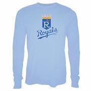 Kansas City Royals Majestic Threads Vintage Logo Soft Hand Long Sleeve T-Shirt - Light Blue