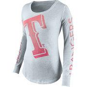Texas Rangers Nike Women's Fade Long Sleeve T-Shirt - Gray