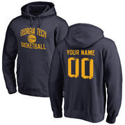 GA Tech Yellow Jackets Distressed Basketball Pullover Hoodie - Navy
