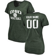 Ohio Bobcats Women's Personalized Distressed Basketball Tri-Blend V-Neck T-Shirt - Green