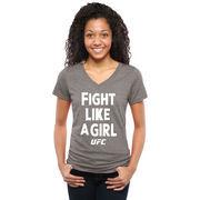 UFC Women's Fight Like A Girl 2015 Tri-Blend V-Neck T-Shirt - Gray