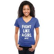 UFC Women's Fight Like A Girl 2015 Tri-Blend T-Shirt - Royal