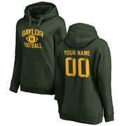 Baylor Bears Women's Personalized Distressed Football Pullover Hoodie - Green