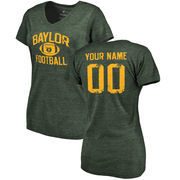 Baylor Bears Women's Personalized Distressed Football Tri-Blend V-Neck T-Shirt - Green