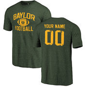Baylor Bears Personalized Distressed Football Tri-Blend T-Shirt - Green