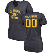 Cal Bears Women's Personalized Distressed Football Tri-Blend V-Neck T-Shirt - Navy