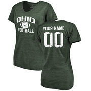 Ohio Bobcats Women's Personalized Distressed Football Tri-Blend V-Neck T-Shirt - Green