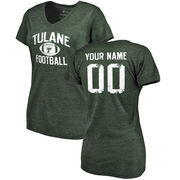 Tulane Green Wave Women's Personalized Distressed Football Tri-Blend V-Neck T-Shirt - Green