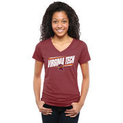 Virginia Tech Hokies Women's Double Bar Tri-Blend V-Neck T-Shirt - Maroon