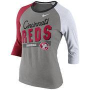 Cincinnati Reds Nike Women's Cooperstown Tri-Blend 3/4 Sleeve Raglan T-Shirt - Gray