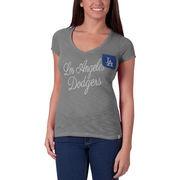 Los Angeles Dodgers '47 Women's Harbour V-Neck Pocket T-Shirt - Heathered Gray