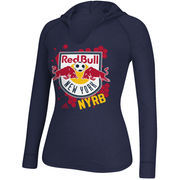 New York Red Bulls adidas Women's Spackle Hooded Long Sleeve T-Shirt - Navy