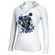 New York City FC adidas Women's Spackle Hooded Long Sleeve T-Shirt - White