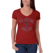 Philadelphia Phillies '47 Women's V-Neck Scrum Logo T-Shirt - Red