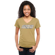 Georgia Southern Eagles Women's Classic Wordmark Tri-Blend V-Neck T-Shirt - Gold
