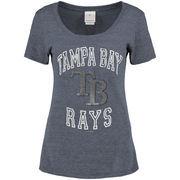 Tampa Bay Rays 5th & Ocean by New Era Women's Rhinestone Scoop Neck T-Shirt - Navy